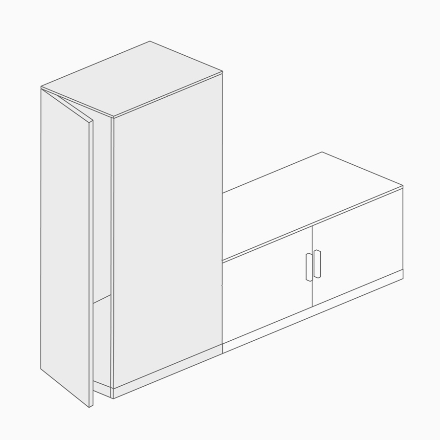 A line drawing of a side-facing storage tower.