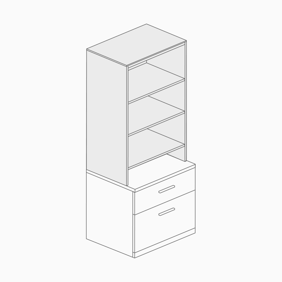 A line drawing of an open bookcase.