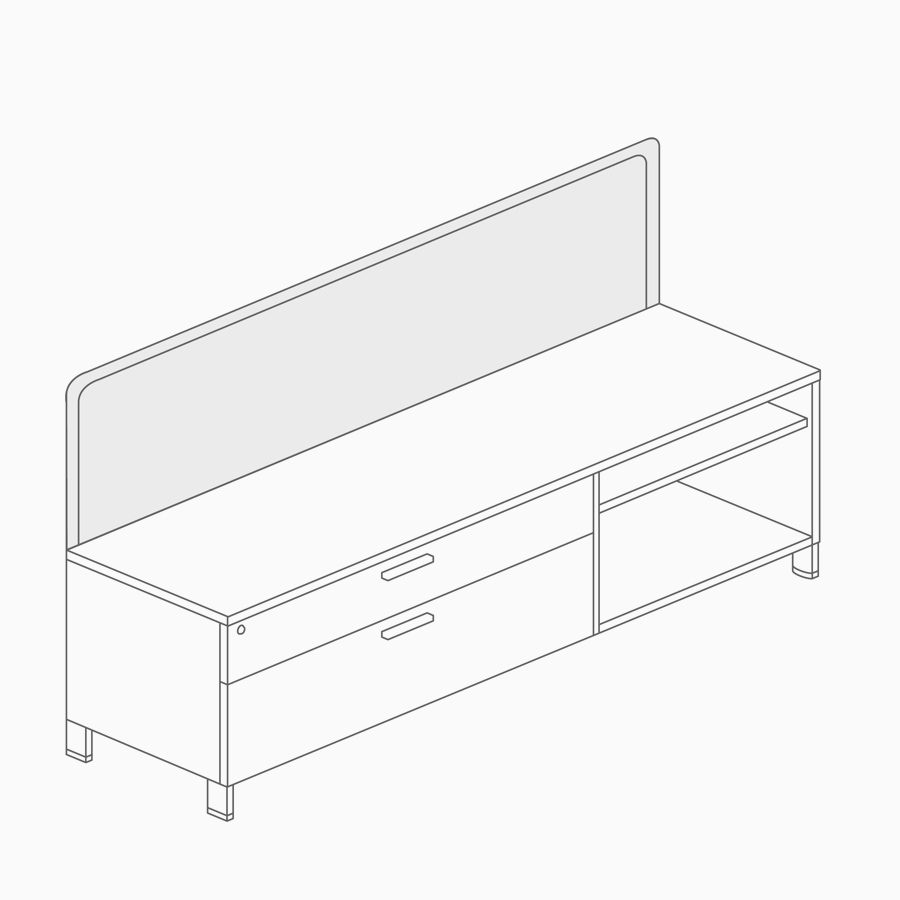 A line drawing of a screen attached to lower credenza storage.