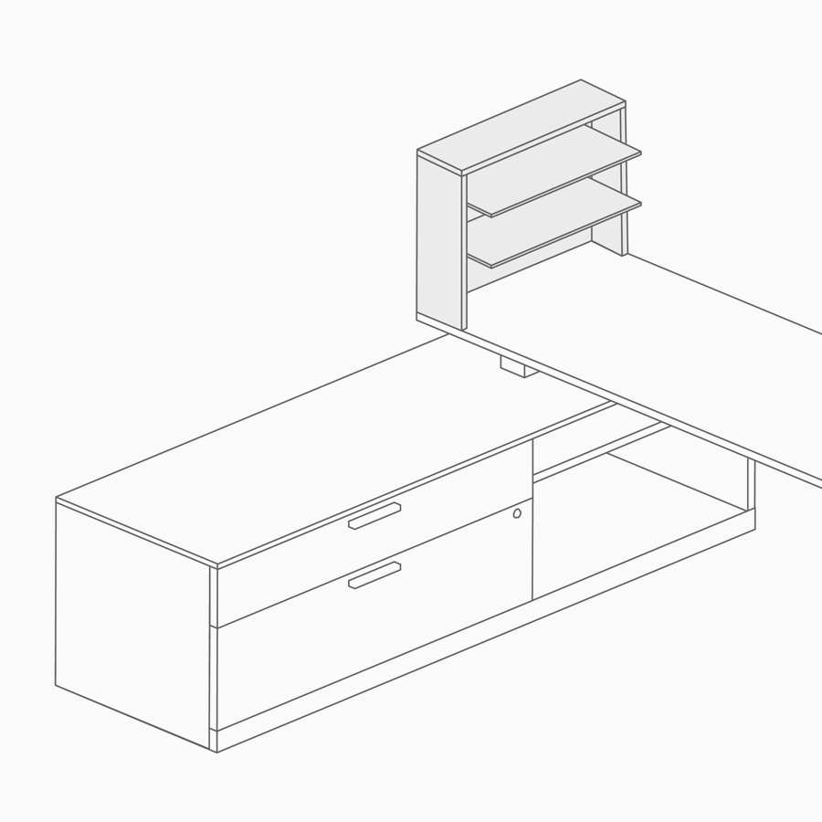 A line drawing of desk shelving on top of a low credenza.