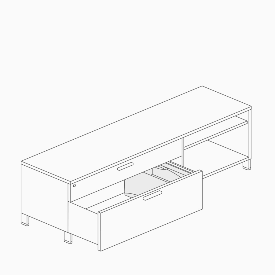 A line drawing of a drawer organizer inside a low credenza.