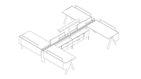 A line drawing of 4 Canvas Vista workstations with central t-shaped light.