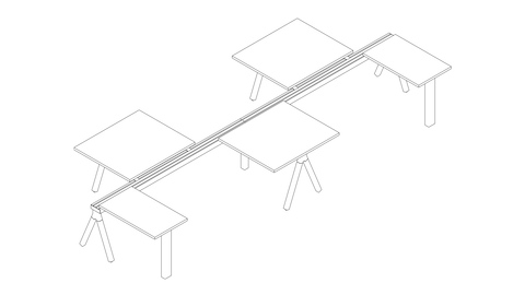 A line drawing of 8 Canvas Vista touchdown workstations.