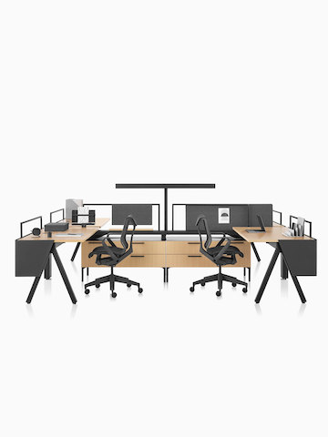 A Canvas Vista workstation with a-shaped legs, modesty screens, and black Cosm office chairs. Select to go to the Canvas Vista product page.