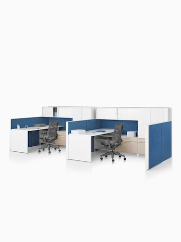 A Canvas Wall workstation with blue panels and white overhead storage, and dark grey Cosm office chairs. Select to go to the Canvas Wall product page.