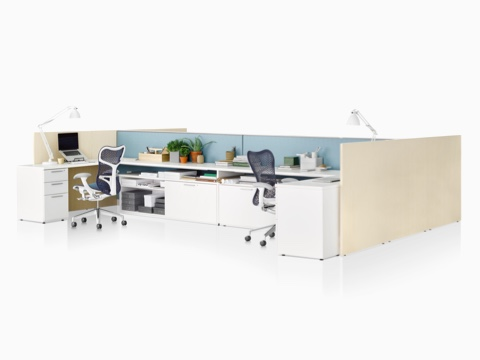 Blue Mirra 2 Chairs at two Canvas Wall workstations with white storage blue iding screens  sc 1 st  Herman Miller & Canvas Wall - Workstations - Herman Miller