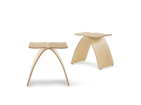 Oblique view of a molded plywood Capelli Stool with a light ash veneer.