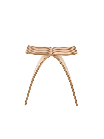 Front view of a Capelli Stool in a light wood finish.