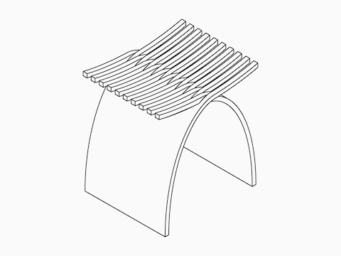 A Isometric drawing of the Capelli Stool.