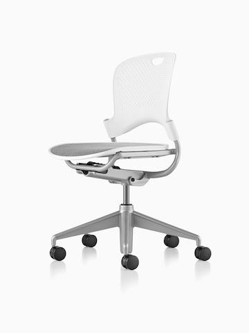 White Caper Multipurpose Chair with a gray seat, viewed from a 45-degree angle.