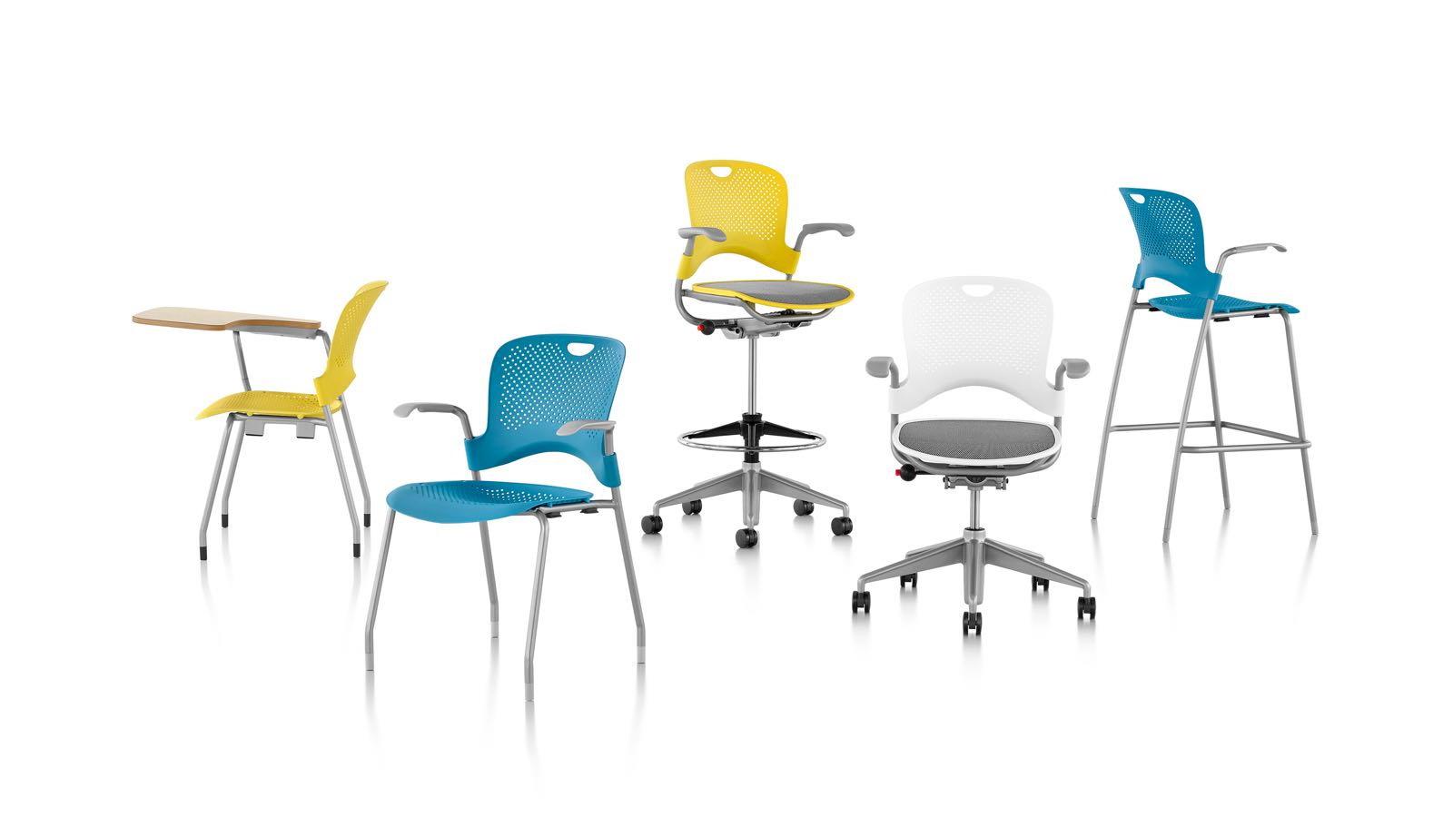 Caper seating family: multipurpose chairs and stools, stacking chairs and stools, and a stacking chair with tablet arm.