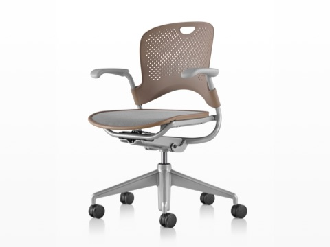 Light brown Caper Multipurpose Chair with a gray seat, viewed from a 45-degree angle and showing contoured seat and back.