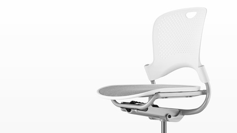 White Caper Multipurpose Chair with a gray seat, viewed from a 45-degree angle and showing contoured seat and back.