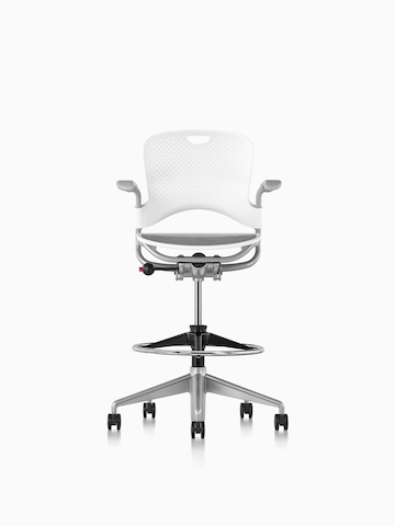 White Caper Multipurpose Stool with a suspension seat, viewed from the front.