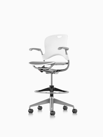 White Caper Multipurpose Stool with a suspension seat, viewed from a 45-degree angle.