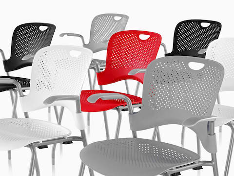 White gray black and red Caper Stacking Chairs.  sc 1 st  Herman Miller & Caper - Stacking Chair - Herman Miller