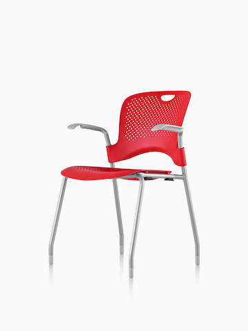 Red Caper Stacking Chair, viewed from a 45-degree angle.