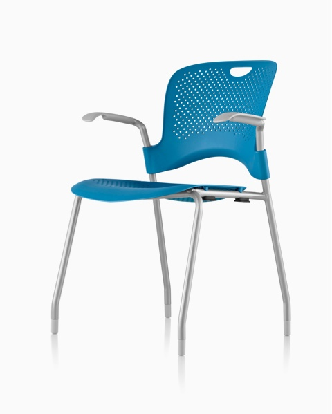 Blue Caper Stacking Chair, viewed from a 45-degree angle.