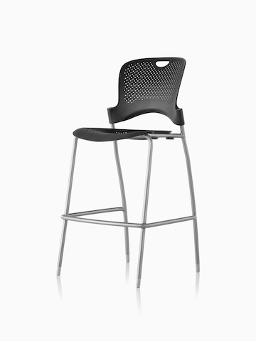 Armless black Caper Stacking Stool, viewed from a 45-degree angle.