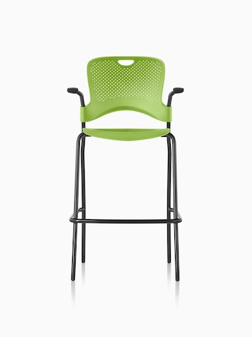 Green Caper Stacking Stool with a suspension seat, viewed from the front.