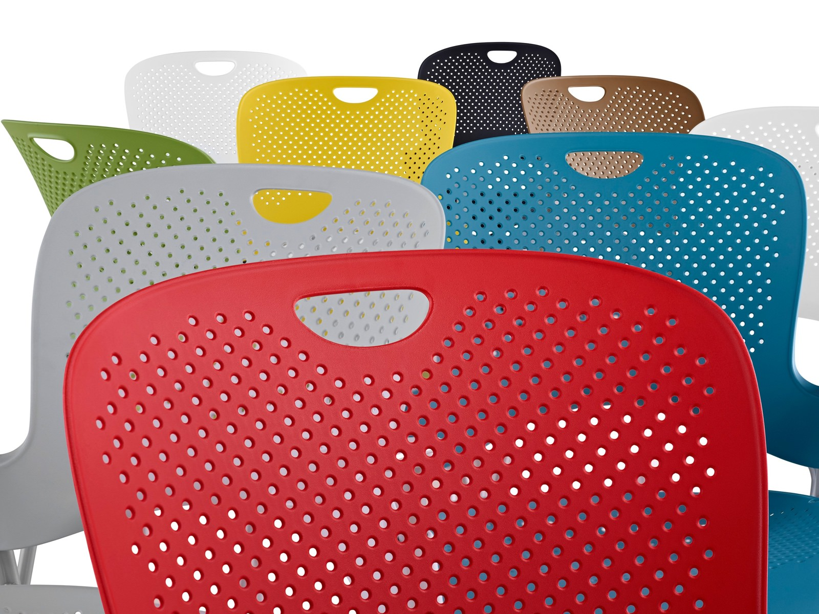 Caper Stacking Stools in various colors: red, gray, blue, green, yellow, brown, white, and black.