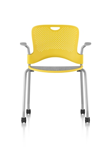 Yellow Caper Stacking Chair with a gray suspension seat, viewed from the front.