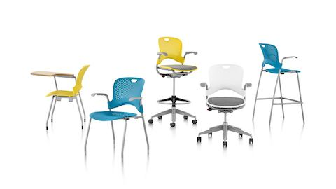 Caper seating family: multipurpose chairs and stools, stacking chairs and stools, and a stacking chair with a tablet arm.