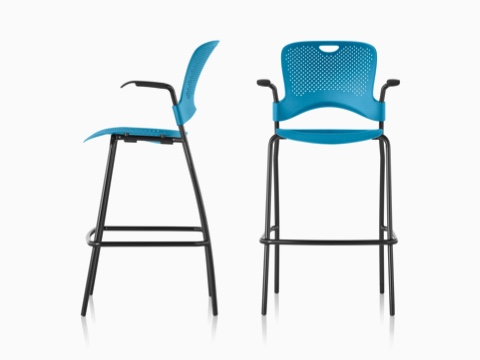 Profile and front views of two blue Caper Stacking Stools.