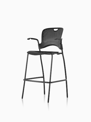 Black Caper Stacking Stool. Select to go to the Caper Stacking Stool product page.