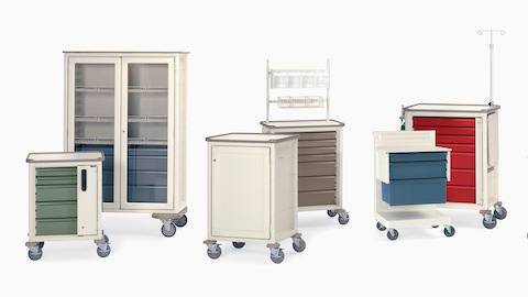 A collection of healthcare carts in various configurations and colors. Select to go to the clinical carts product page.