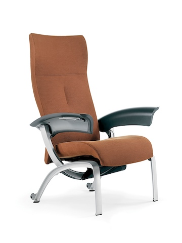 A rust-colored Nala Patient Chair, viewed from a 45-degree angle.