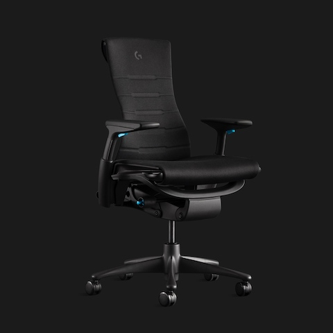 Dark grey Embody Gaming Chair with cyan fixtures and embossed Logitech G logo shown angled on a black background.