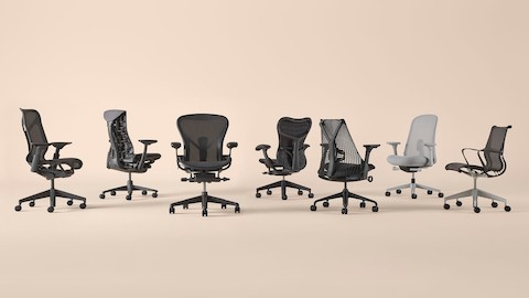 All Herman Miller office chairs arranged in a horizontal line.