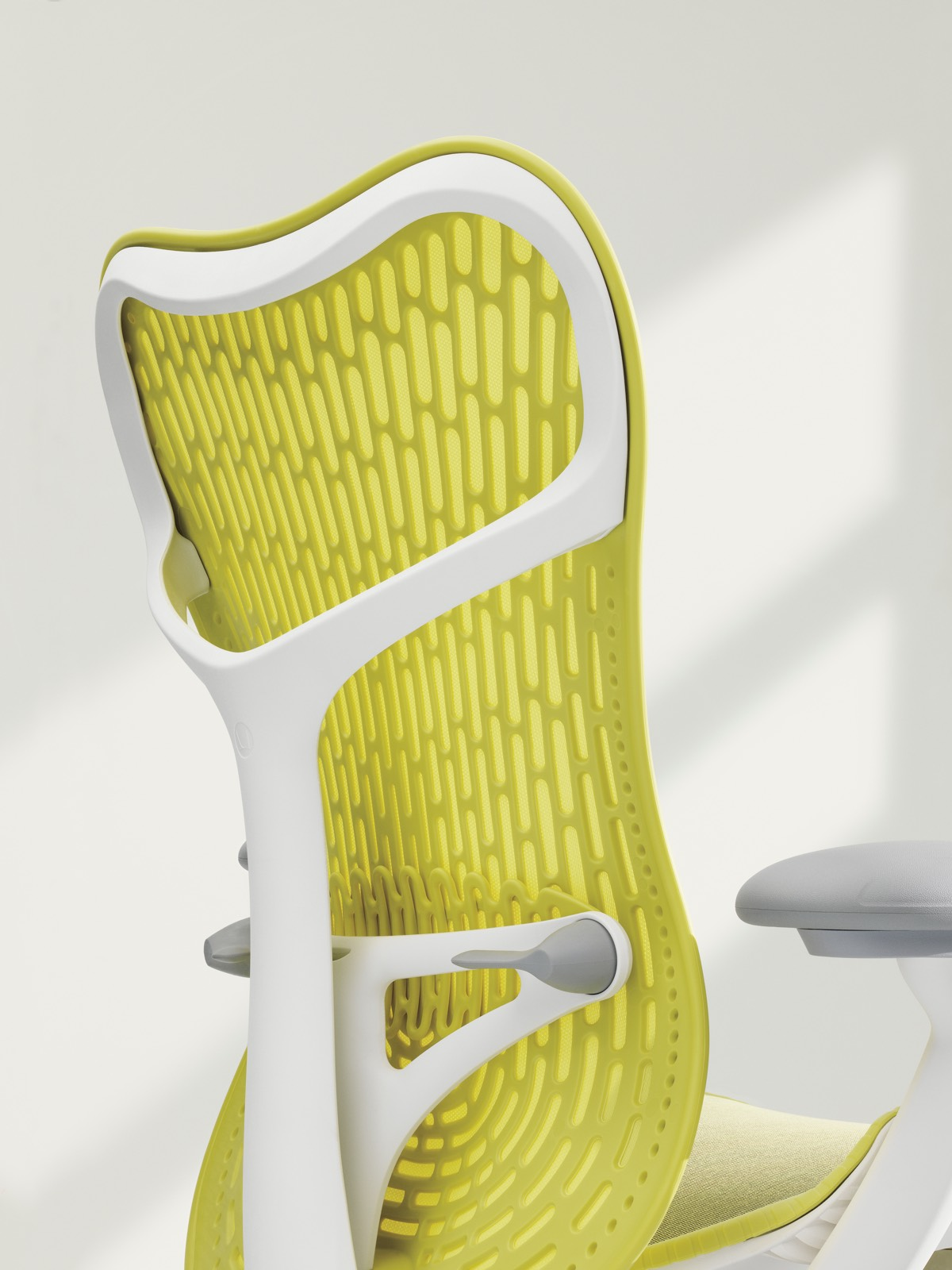 Back view of a yellow Mirra 2 office chair.