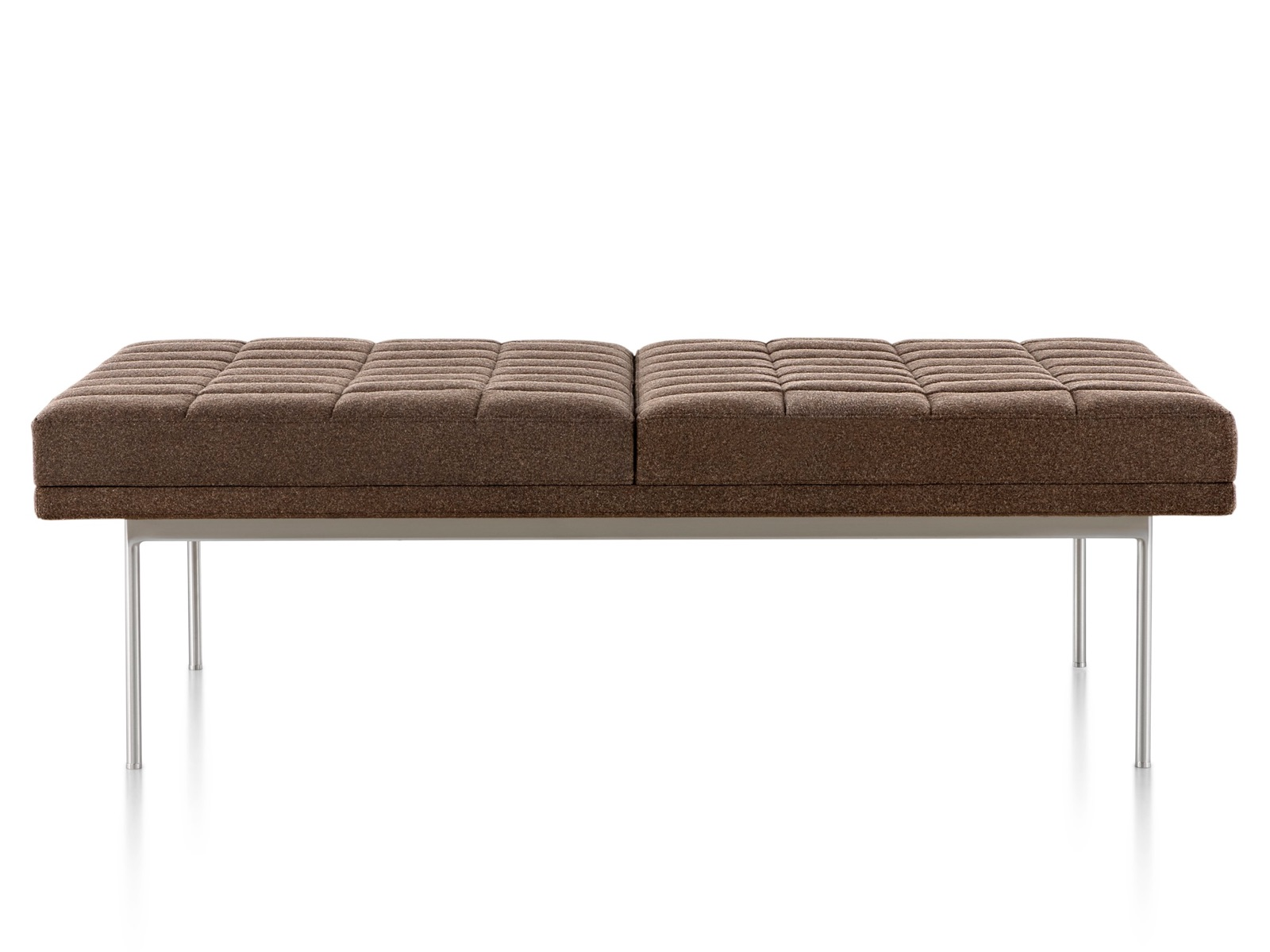 Side view of a brown Tuxedo Bench.