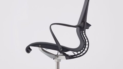 Close-up of the Setu Chair's side profile.