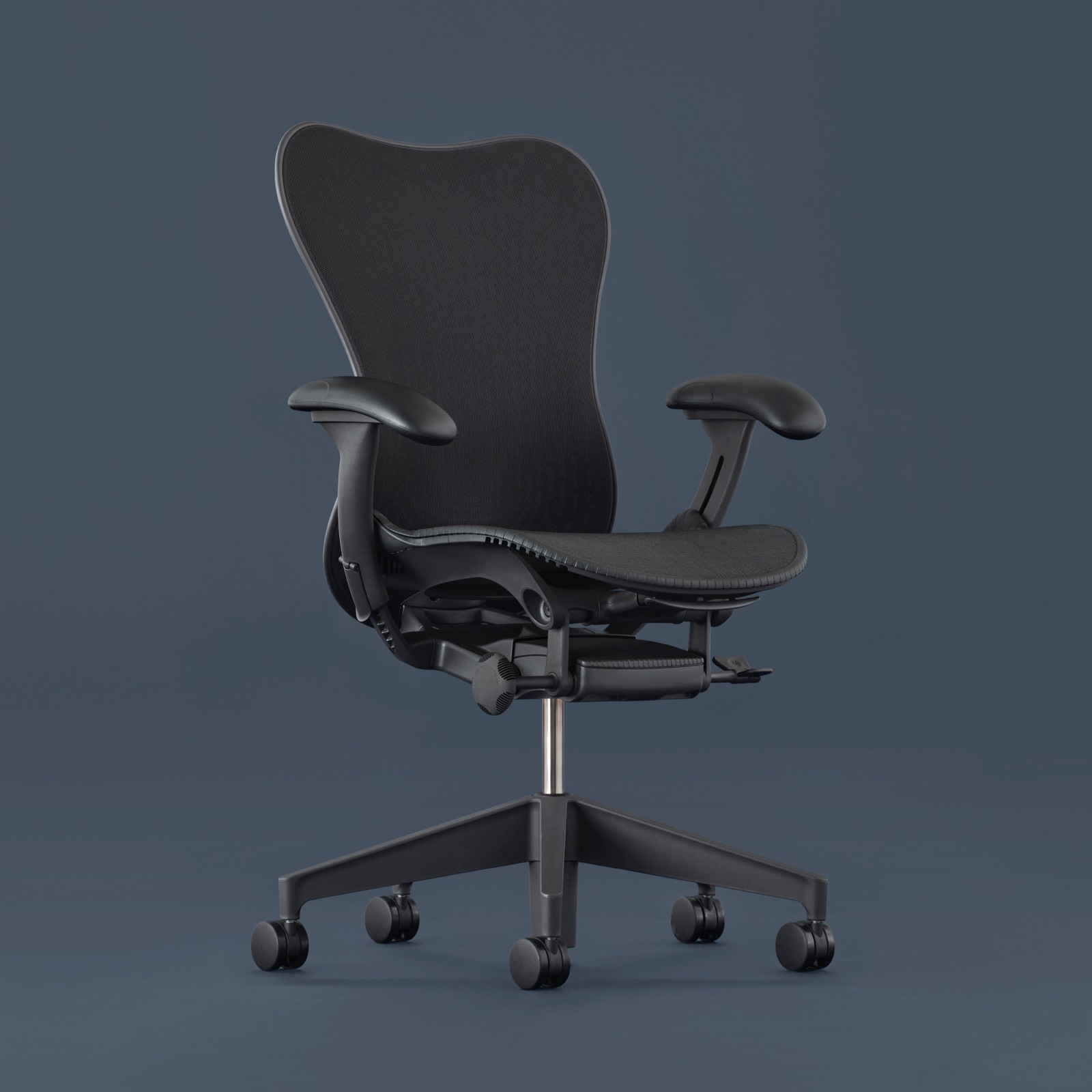 A full view of the Mirra 2 Chair swiveled 45 degrees to the right.