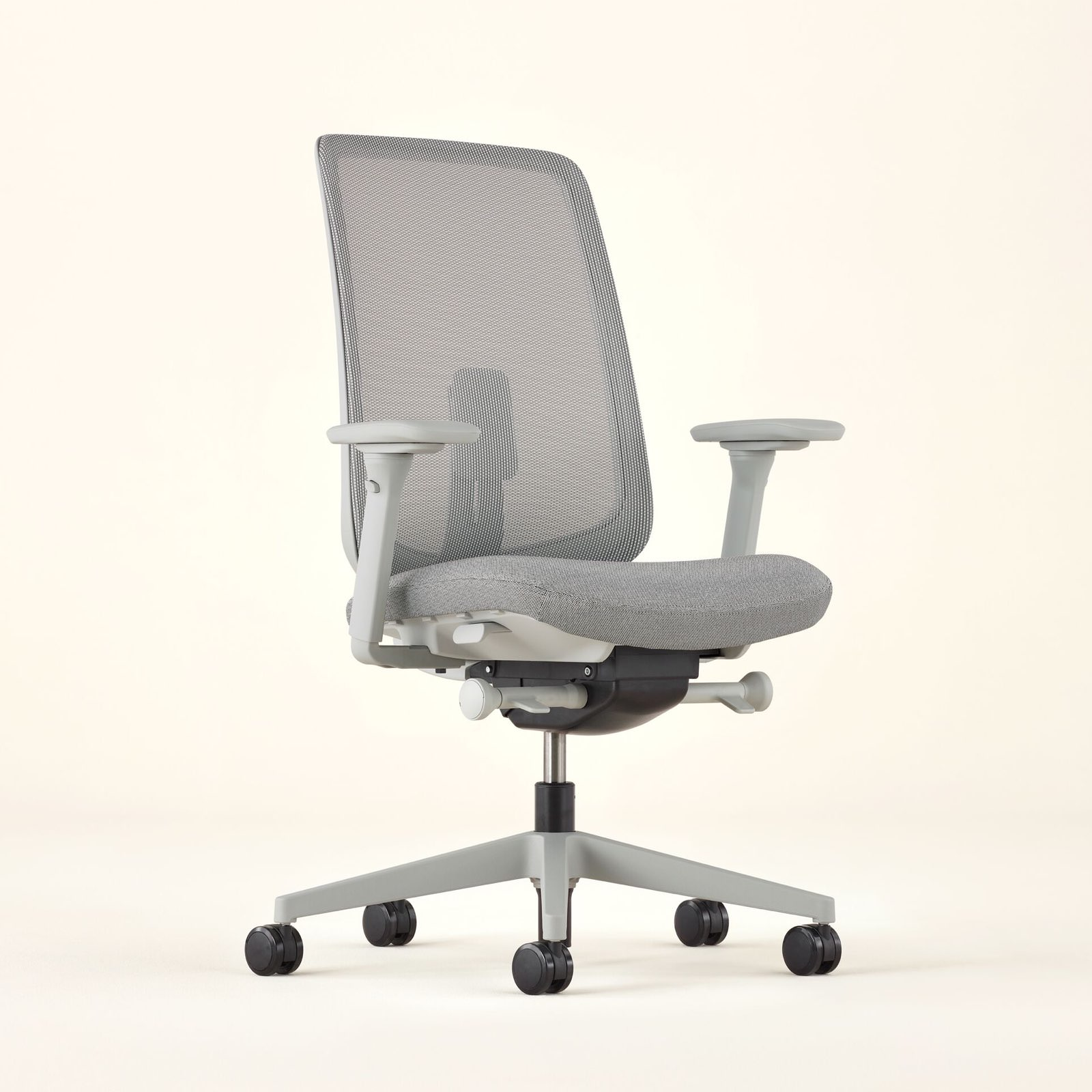 A full view of the Verus Chair swiveled 45 degrees to the right.