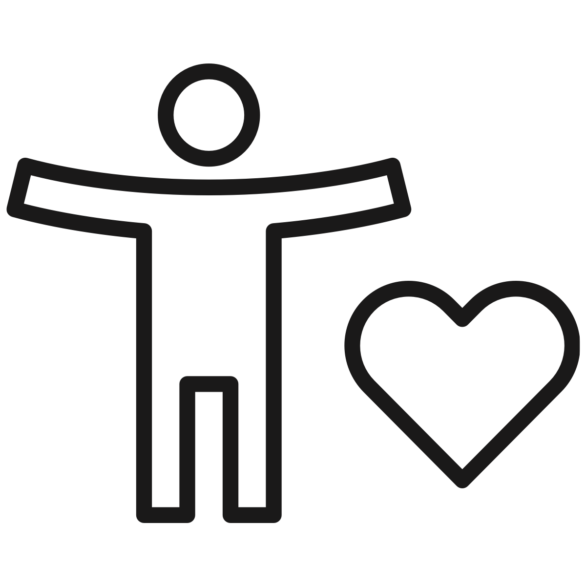 An illustrated black and white icon depicting a person and a heart, signifying wellness