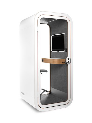 A white Framery O Office Phone Booth with video conference capability. Select to go to Phone Booths and Office Pods.