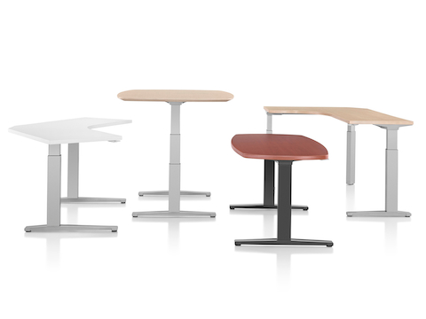 Four Renew Sit-to-Stand Tables of various top shapes and colors. Select to go to our sit-to-stand tables pages.