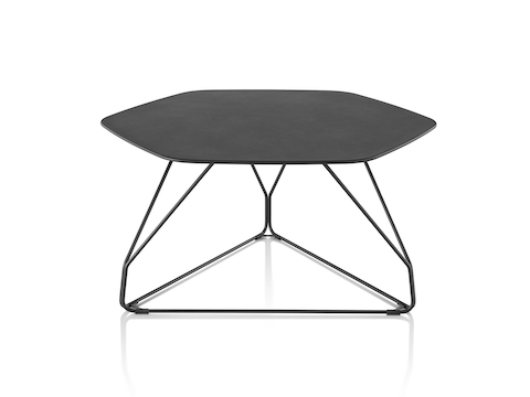 A black Polygon Table with a hexagonal top and a black wire geometric base. Select to go to our occasional tables pages.