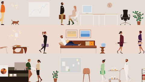 An illustration of various professionals interacting with Herman Miller furniture. Select to learn more about Living Office.