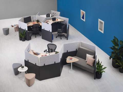 An overhead view of Catena Office Landscape workstations in both an S-Shape and group honeycomb configurations.