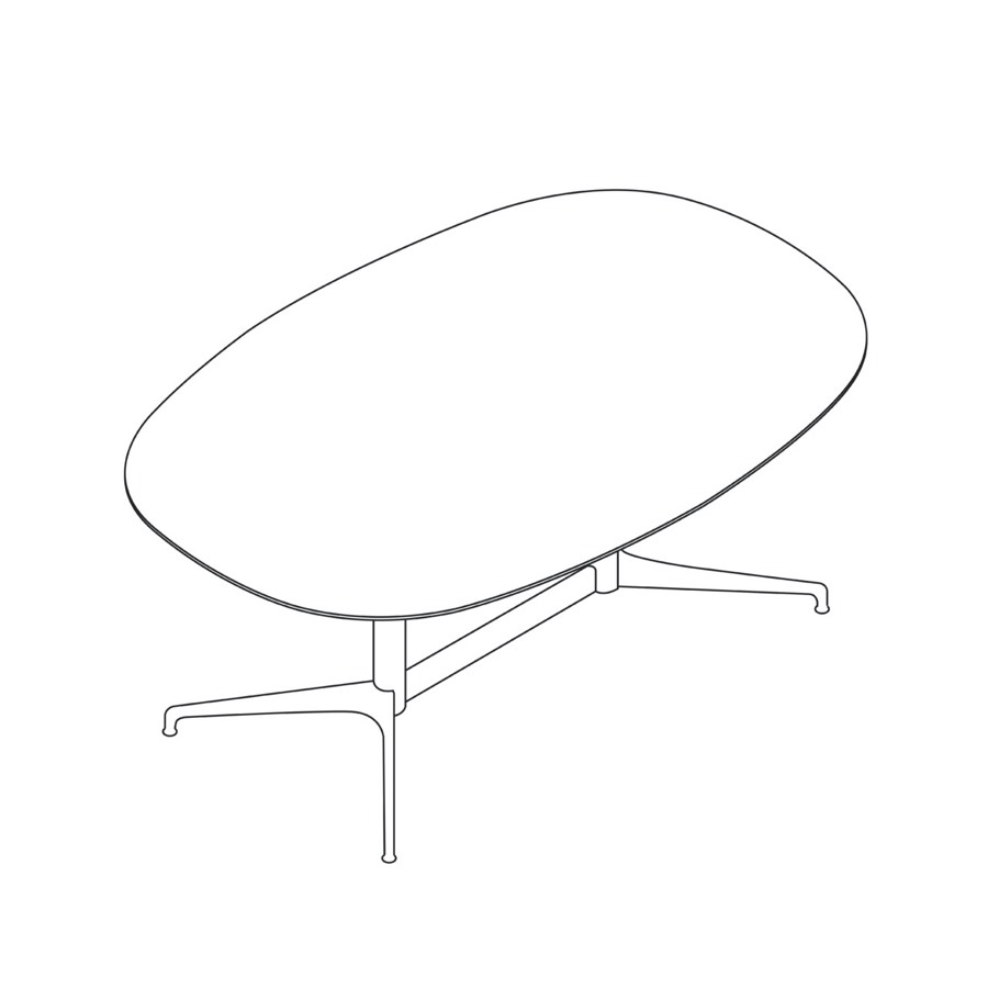 A line drawing of an oval Civic Table.