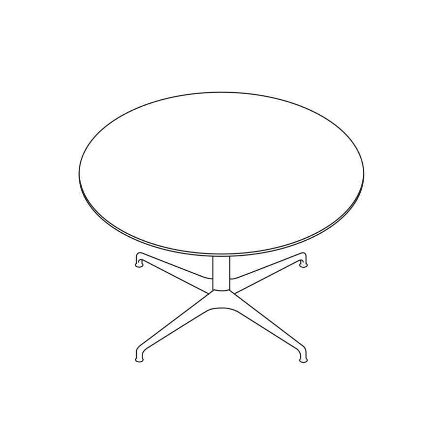 A line drawing of a round Civic Table.
