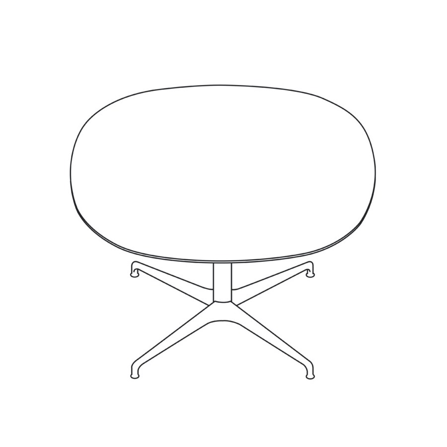 A line drawing of a soft square Civic Table.