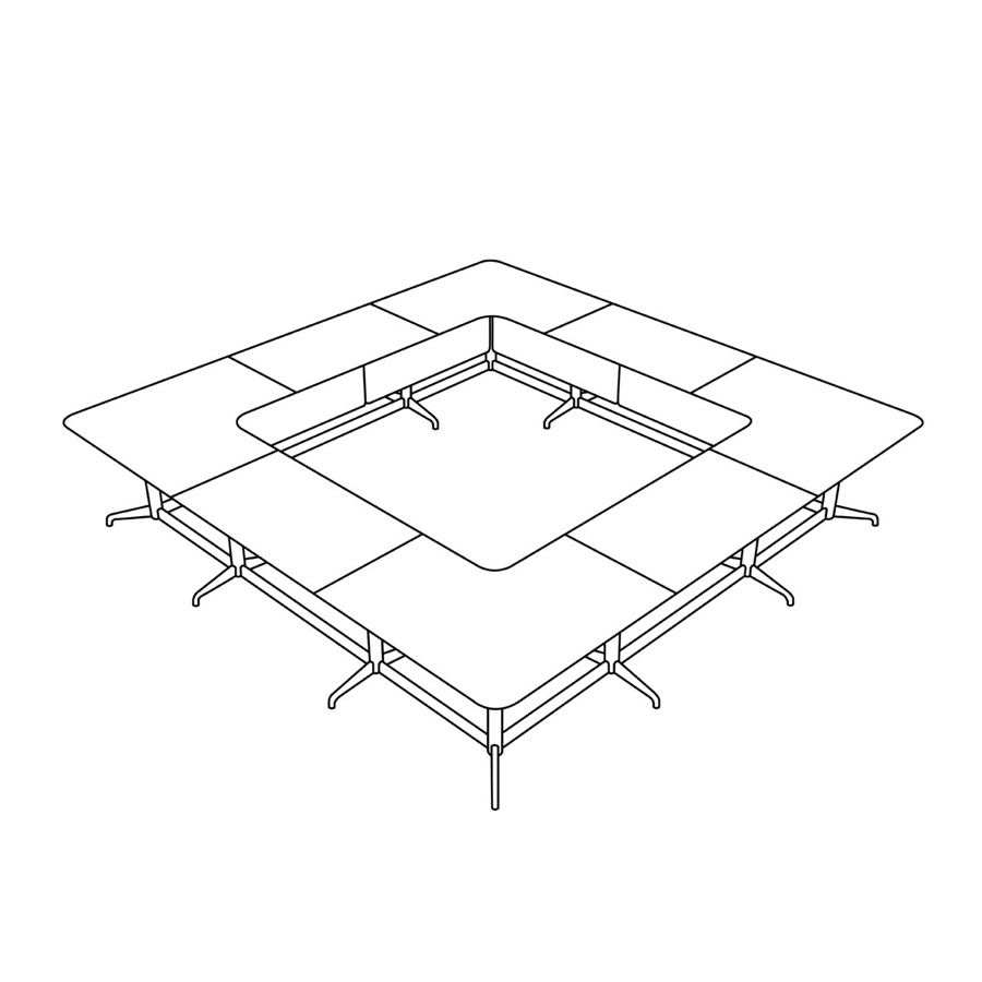 A line drawing of an O shape Civic Table.