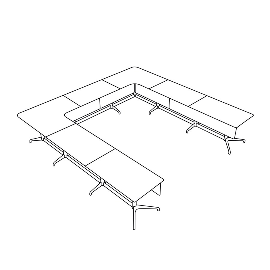 A line drawing of a U shape Civic Table.