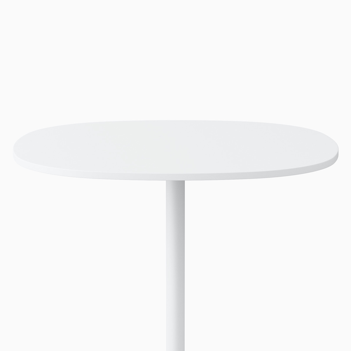 A soft square white Civic Table with a square edge at standing height.